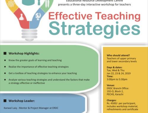 Workshop for Teachers: EFFECTIVE TEACHING STRATEGIES