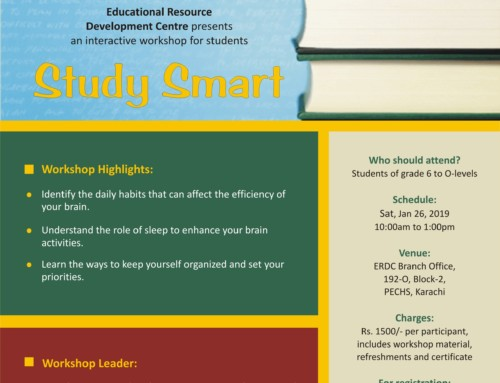 Workshop for Students of grade 6 to O levels: STUDY SMART