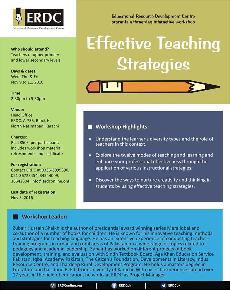 Three Day Workshop On Effective Teaching Strategies Erdc