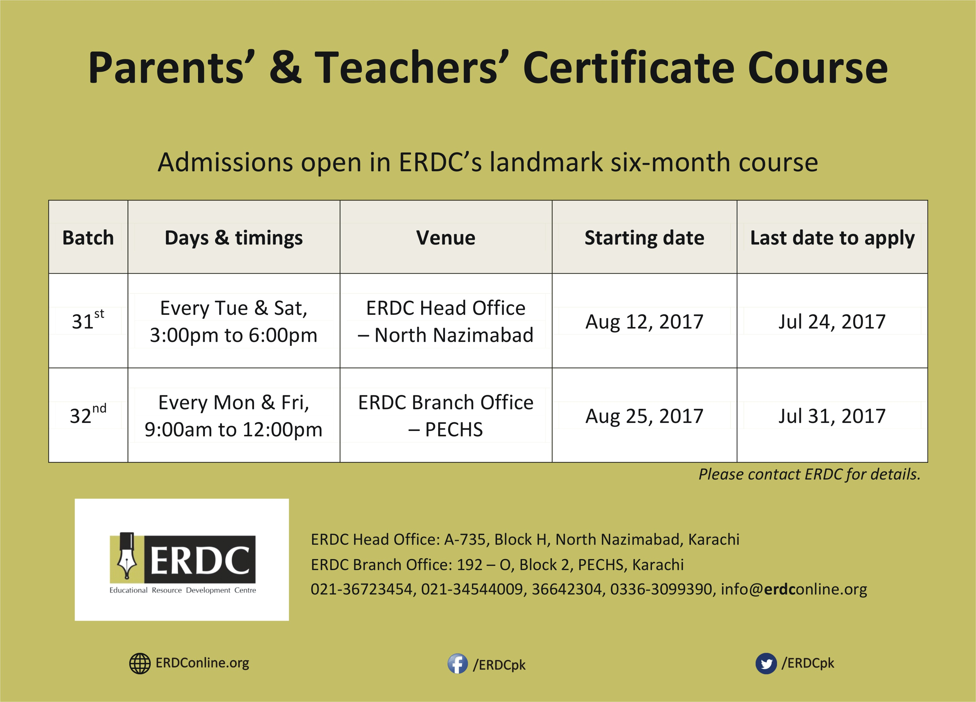 ptcc parents teachers certificate course erdc