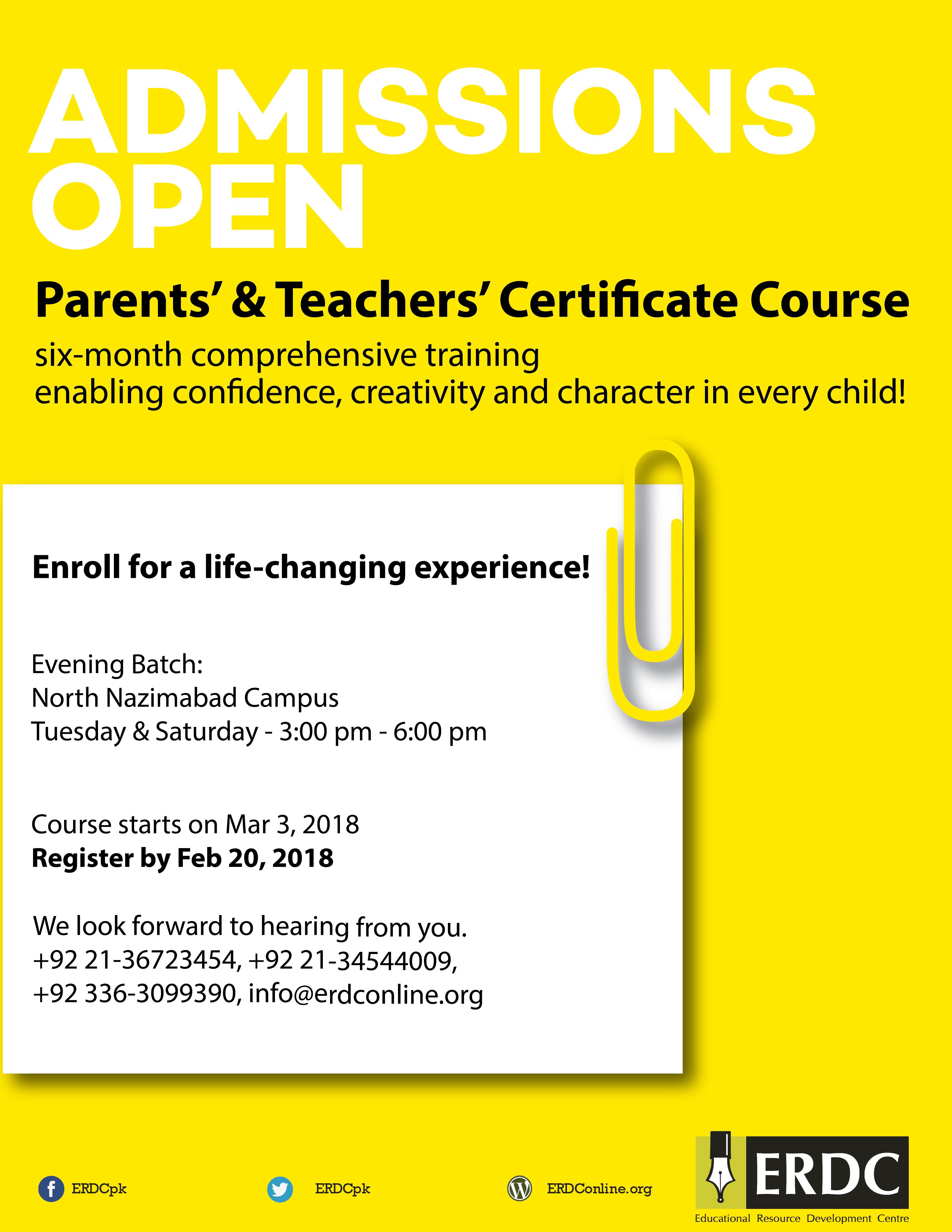 A six-months course: PARENTS\' & TEACHERS\' CERTIFICATE COURSE – ERDC